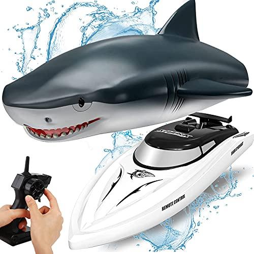 OBEST Ferngesteuertes Boot Hai, RC Shark Boot Spielzeug 2 in 1, 2.4GHz...