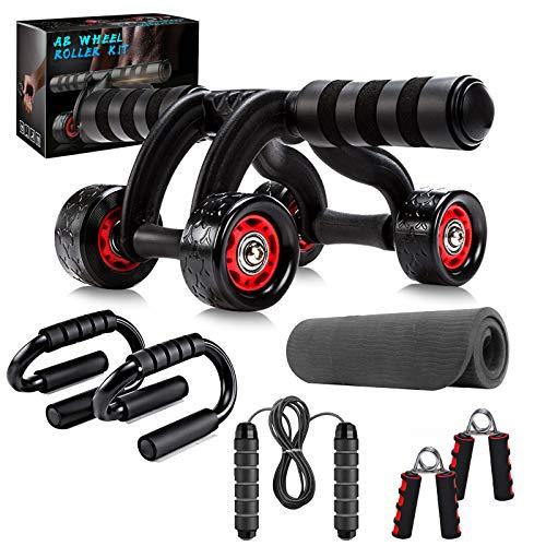 Abroller Bauchtrainer Fitnessset Set , Bauchroller Set 7 IN...