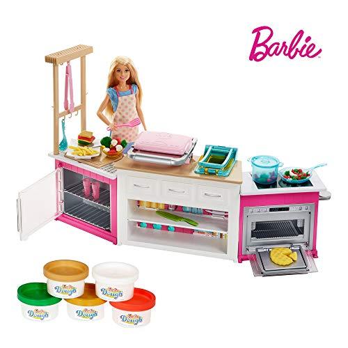 Barbie FRH73 - Cooking und Baking Deluxe Küche Spielset und Puppe, mit Zubehör und Spielknete, Mädchen...