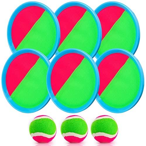 Weokeey Klettballspiel für Kinder, Klettball Set mit 6 Paddles und 3...