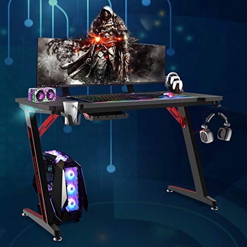 Soontrans Gaming Tisch mit LED Groß Computertisch mit...
