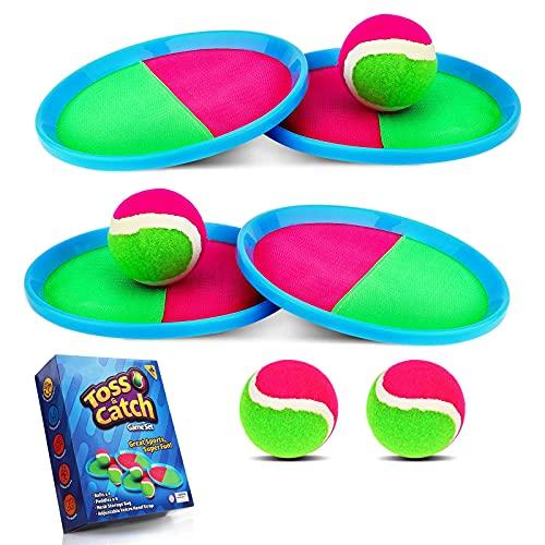Weokeey Klettballspiel für Kinder, Klettball Set mit 4 Paddles und 4...