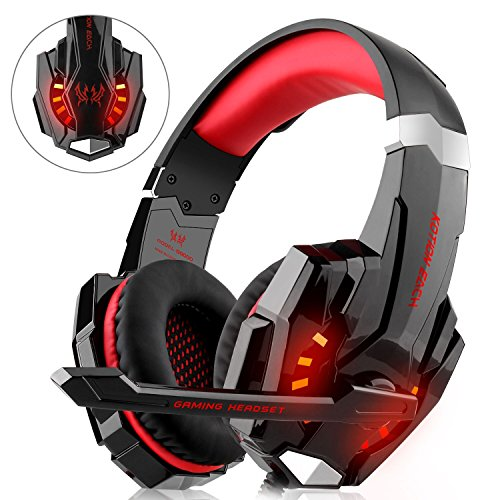 DIZA100 Gaming Headset for PS4 Xbox One PC, Gaming Headphones with Microphone, LED Light Bass Surround,...