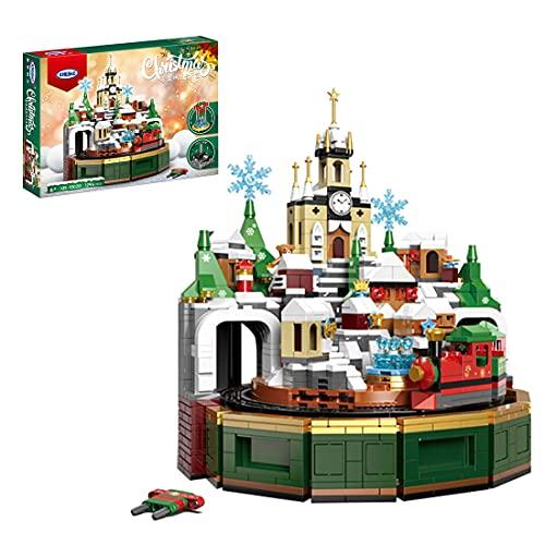 WWEI Schloss Zug Spieluhr Modular Haus, Weihnachtszug Burg Bausteine,...