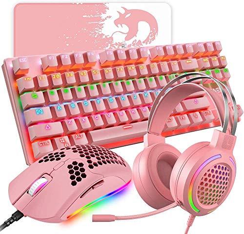 4-in-1 Gaming-Tastatur, Maus, 87 Tasten, mechanische Tastatur, RGB...