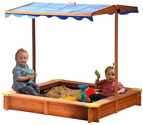 dobar 94350FSC - Sandkasten aus FSC-Holz, Dach höhenverstellbar und...
