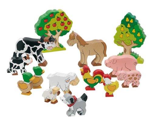 goki 53034 Bauernhoftiere bunt bemalt aus Holz...