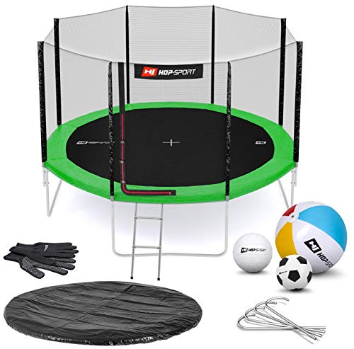 Hop-Sport Gartentrampolin Outdoor Trampolin 244, 305, 366, 430, 490 cm Komplettset inkl. Außennetz Leiter...