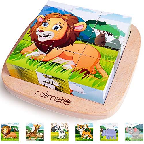 Rolimate Bilderwürfel Holz, Holzpuzzle 3D...