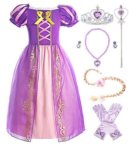 ReliBeauty Mädchen Kleid Puffärmel Prinzessin Rapunzel Kostüm...