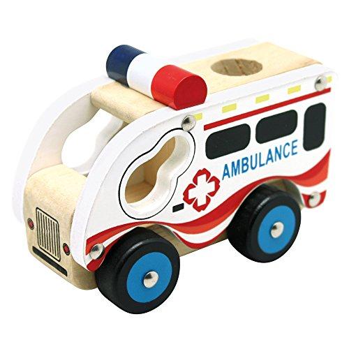 Bino Holzauto Ambulanz Holzspielzeug Krankenwagen Spielzeug für...