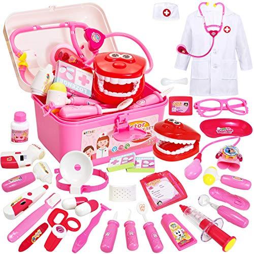 Buyger 35 Teile Arztkoffer Medizinisches Doktor Arztkittel Rollenspiel Spielzeug ab 3 Jahre Mädchen Junge...