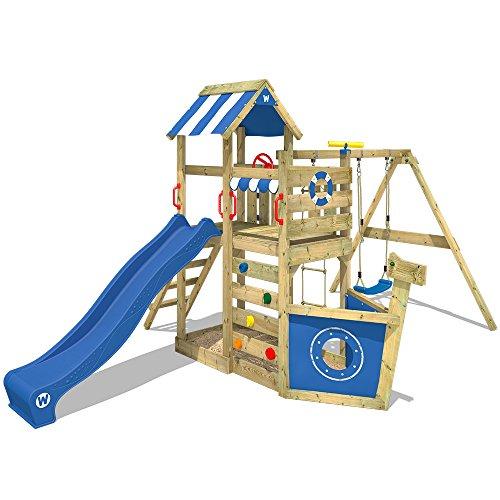 WICKEY Spielturm Klettergerüst SeaFlyer mit Schaukel & blauer...