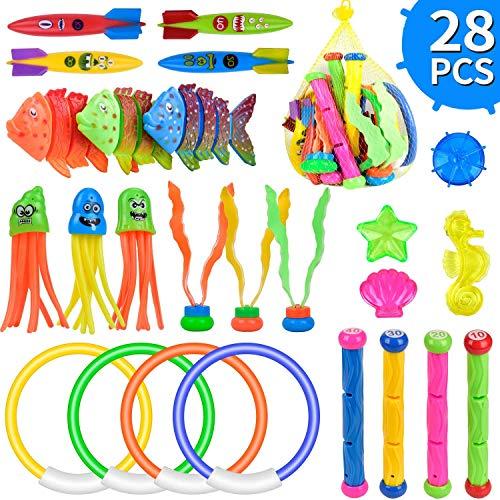 balnore 28 Stück Tauchspielzeug Unterwasser Pool Spielzeug Set...