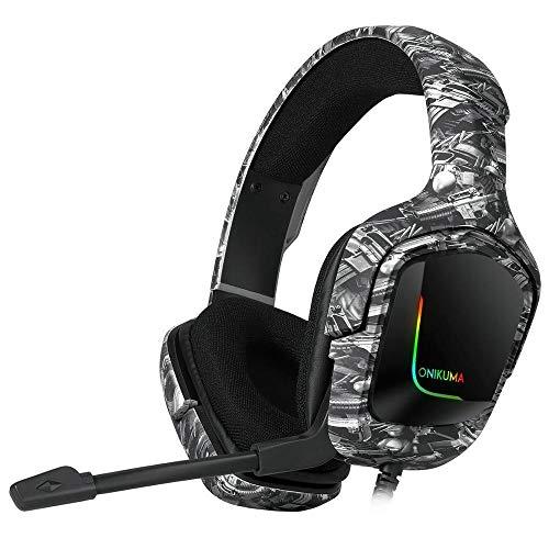 Headset Tarnung RGB-Kopfhörer mit Noise Cancelling-Mikrofon for Computer-Handy-Laptop Anime Gaming Headset...