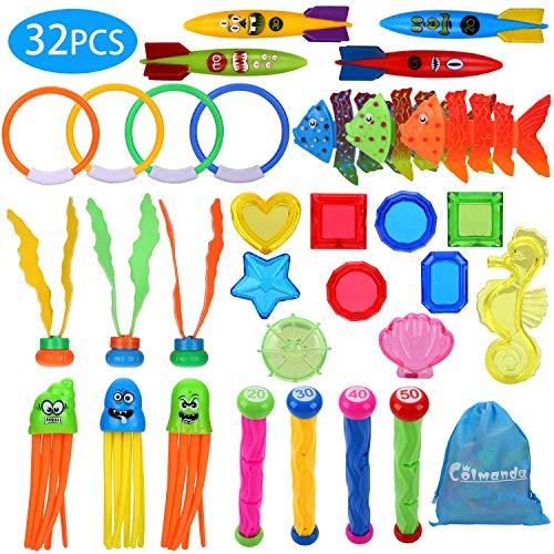 Colmanda Tauchspielzeug, 32 Stück Badespielzeug Set Badewannenspielzeug Tauchspielzeug Pool Spielzeug Tauchen...