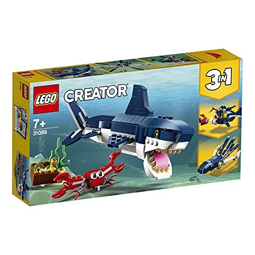 Lego 31088 Creator Bewohner der Tiefsee, 3-in-1 Set mit Hai, Krabbe...