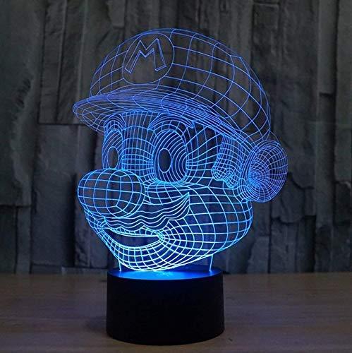 Super Mario Figuras 3D Illusion Lichter Lampe, LED Tisch Schreibtisch...