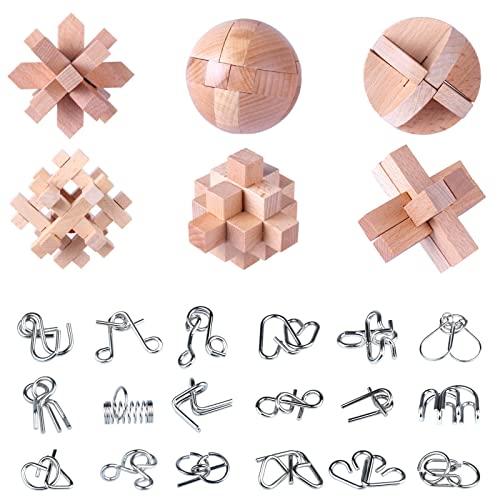 Barm 24 Stück Holz Metall Denksport Puzzle Spielzeug Kinder und...