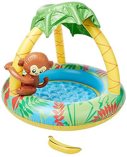 Jilong Monkey Pool Ø 100 x 80 cm Kinderpool mit aufblasbarem Boden Planschbecken mit Sonnenschutz-Dach...