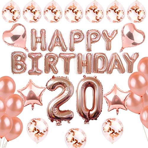 sancuanyi 20 Geburtstag Dekoration Rosegold, 20. Geburtstag deko für...