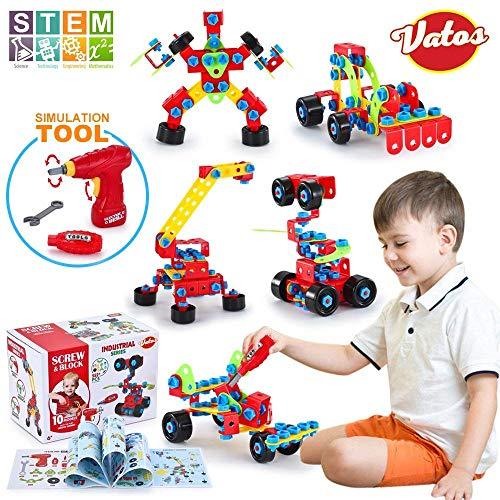 VATOS Spielzeug Baue Bausteine Lernspielzeug Baukasten mit 552 Stück - STEM Educational...