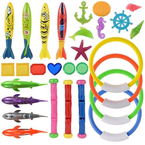 Nabance 29Stk Tauchspielzeug Tauchen Spielzeug Unterwasser Schwimmbad Spielzeug, 4*Tauchringe, 4*Toypedo...