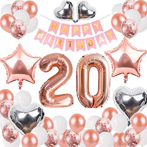 DANXIAN 20 Geburtstag Deko Rosegold Set, Happy Birthday Girlande...