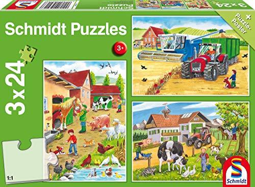Schmidt Spiele 56216 Auf dem Bauernhof, 3x24 Teile...
