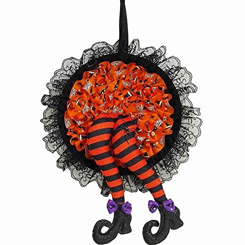 GDEVNSL Halloween Dekoration Spukhaus Hut Beine Kürbis Kranz...