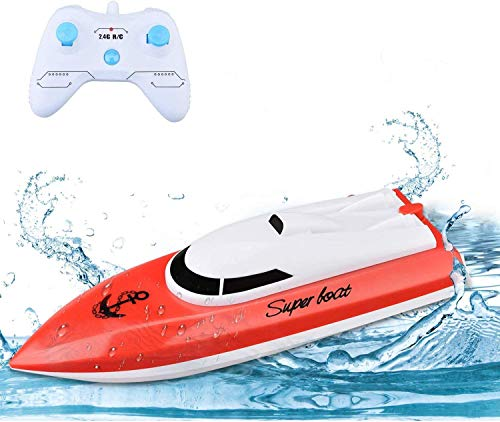 STOTOY Ferngesteuertes Boot, RC Spielzeug Boot Kinder, 2,4-GHz Fernbedienungs Boot für Pools und Seen, 10 km...