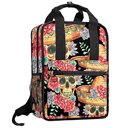 KAMEARI Rucksack College Bookbags Schultertasche Bookbags Skull Flower...