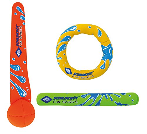 Schildkröt Neopren Diving Set, 3-teiliges Tauchset, je 1 Ring, Stab, Ball, Sandfüllung, weich, stehen am...