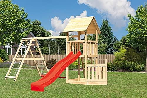Akubi Spielturm Lotti Doppelschaukelanbau mit Klettergerüst Rot Ohne...
