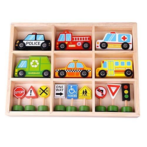 Tooky Toy Fahrzeuge und Straßenschilder aus Holz - Holz-Auto...