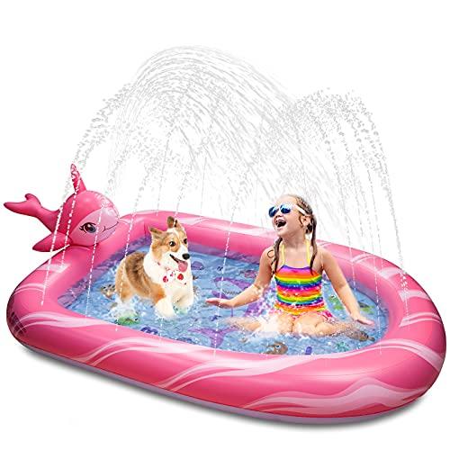 Weokeey Splash Pool, Narwal Sprinkler Pool Planschbecken für Kinder...