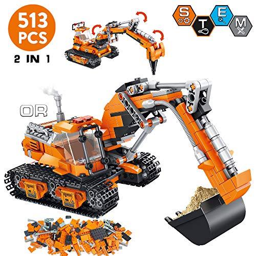 VATOS City Bausteine ab 6 7 8 9 10 Jahren Jungen, 513 Teile Konstruktionsspielzeug Bauset kreative 2-in-1...