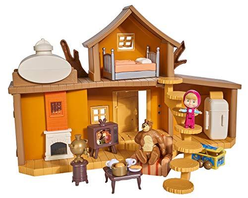 Simba 109301032 - Mascha und der Bär Spielset Großes Bärenhaus/ mit 2 Etagen/ zum Aufklappen/ mit Sound/...