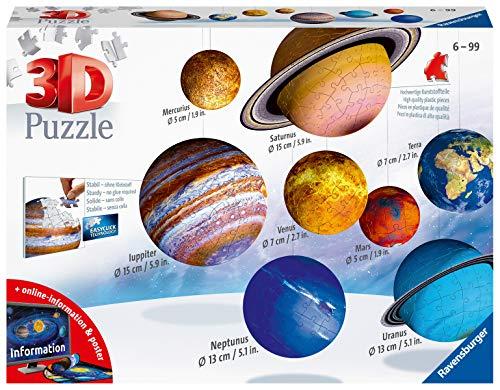 Ravensburger 3D Puzzle Planetensystem für Kinder ab 6 Jahren - 8 Puzzleball-Planeten als Sonnensystem Modell...