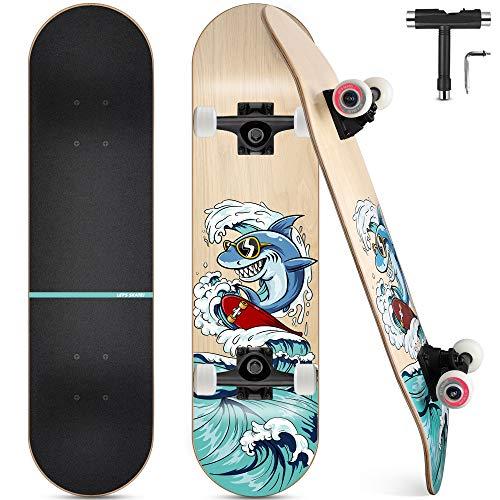 Skateboard, Komplettboard 31 x 8 Zoll Skateboards mit Doppel-Kick,...