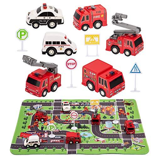 Kilpkonn Feuerwehr Rettungsfahrzeug Autos Spielzeug, 6 Feuerwehrautos,...