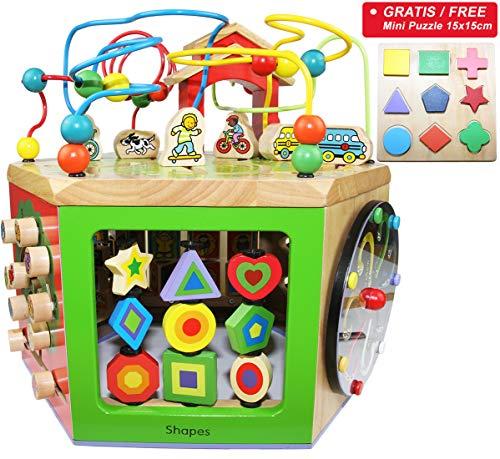 EasY FoxY ToY Activity Center Baby; Grosser Motorikwürfel Spielzeug aus Holz für Kinder ab 1 2 Jahre;...