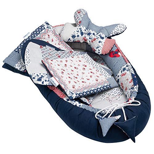 5tlg. Baby Ausstattung-Set inkl. Babynest 50x90cm, Nackenkissen, Flachkissen, Baby-Matratze, Kuscheldecke –...
