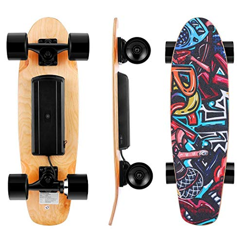 WOOKRAYS Elektrisches Skateboard mit Funkfernbedienung Elektro Skateboard -20km/h High Speed E Skateboard...
