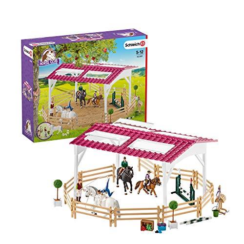 Schleich 42389 Horse Club Spielset - Reitschule mit Reiterinnen und...