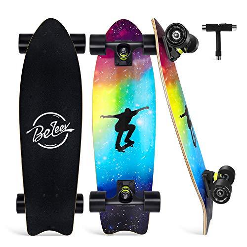 BELEEV Skateboard 27x8 Zoll Komplette Cruiser Skateboard für Kinder...