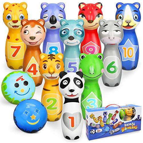 Sanlebi Kegelspiel für Kinder Ball Set mit 10 Kegel und 2 Bälle...