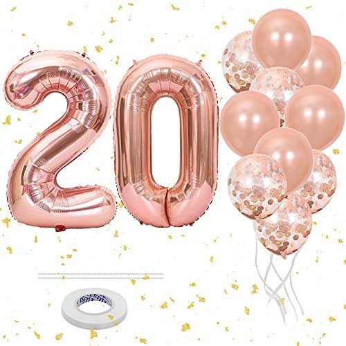 Luftballon 20. Geburtstag Rosegold, Geburtstagsdeko Mädchen 20 Jahr,...