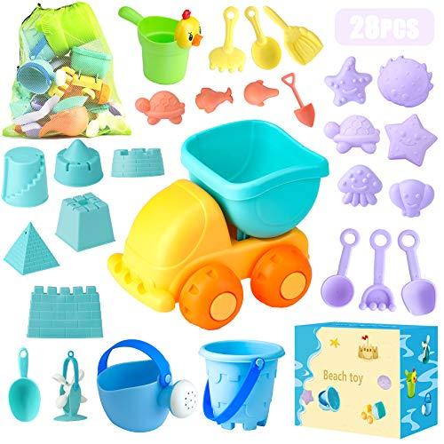 Sandspielzeug, 28 Stück Sandkasten Spielzeug Set mit Sand Förmchen,...
