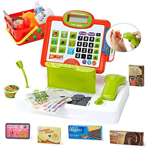 Lekebaby Spielzeug Kasse, Kaufladen Kasse mit Echtem Taschenrechner &...